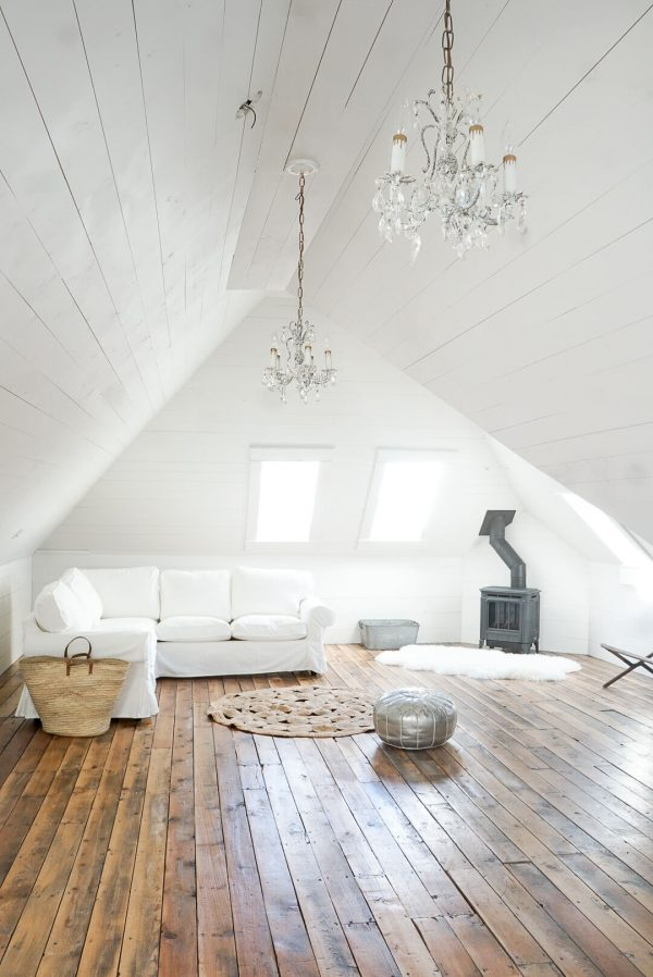 Hampton H27 Gas Fireplace Attic White Shiplap salvaged hardwood skylights ikea sectional round natural rug jute