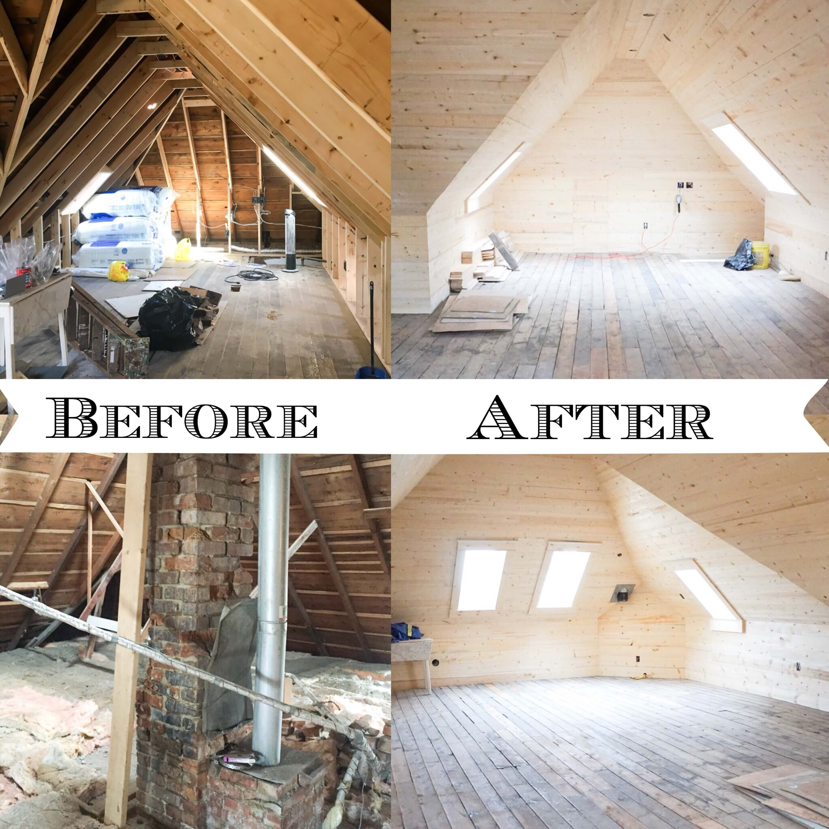 before and after renovating an attic space