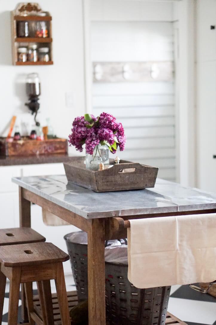 Fresh-Cut-Flowers-Galvanized-Countertop-Kitchen-Island-Lilac