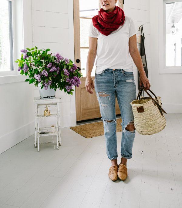 Linen scarf and market basket