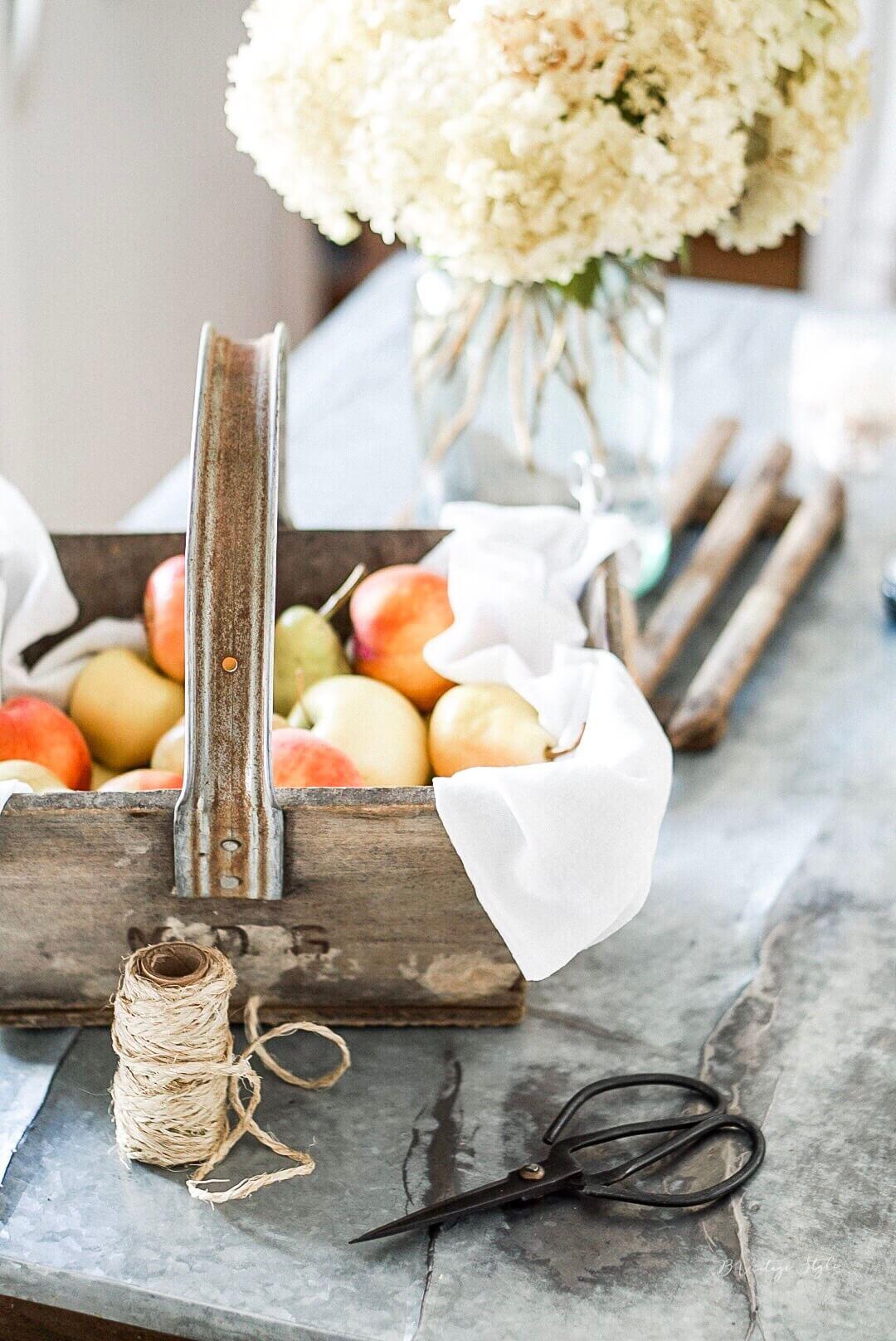 Fall apple harvest wood basket french scissors