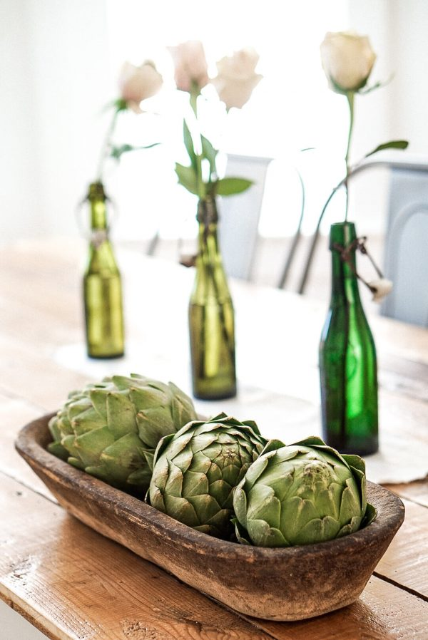 Green Bottles and artichokes