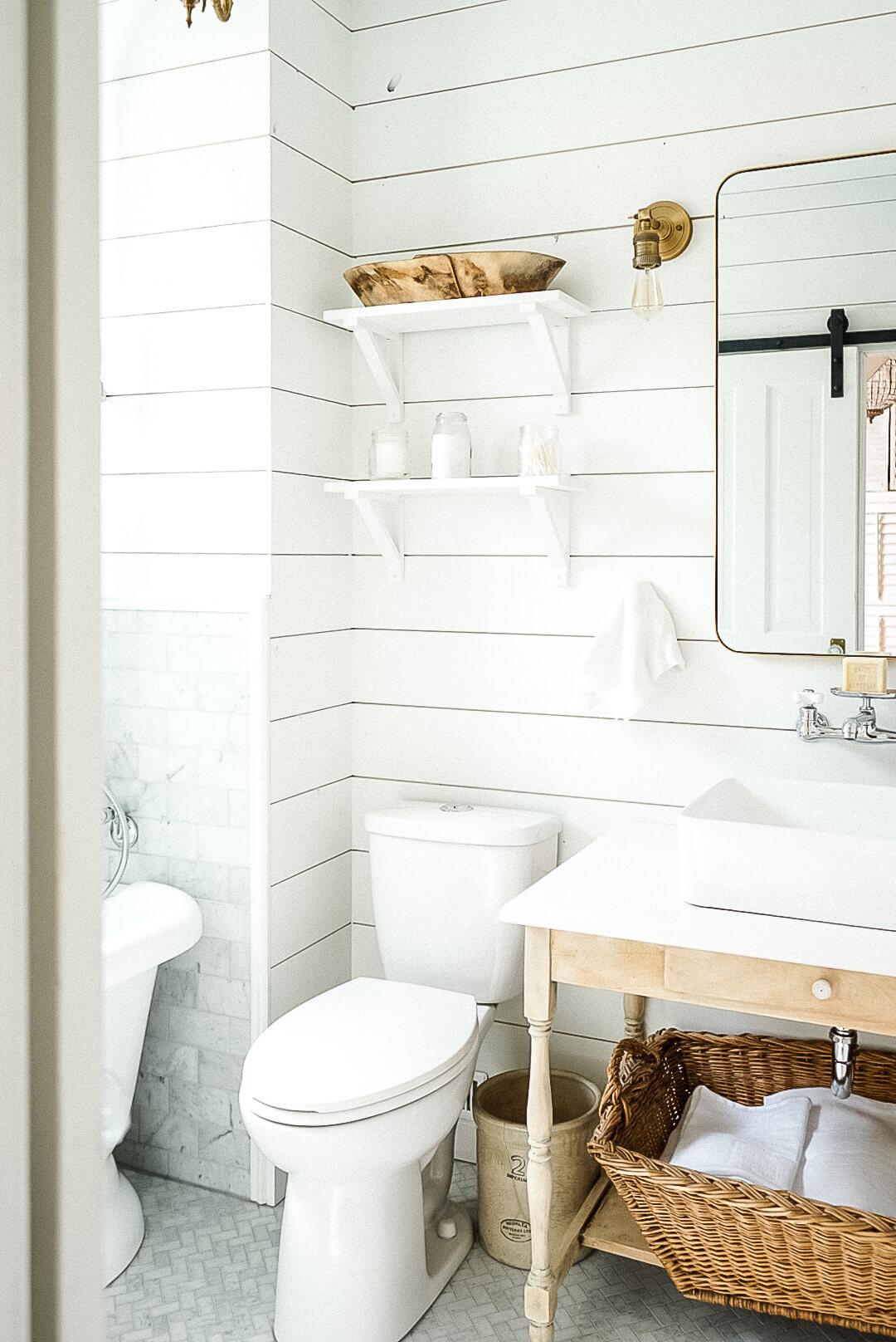 White shiplap bathroom