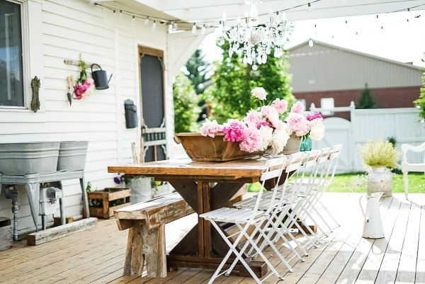 french antiques on an outdoor farmhouse patio
