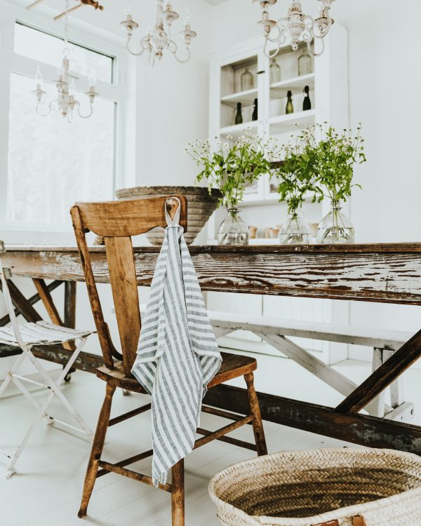 Blue and White Linen Towel