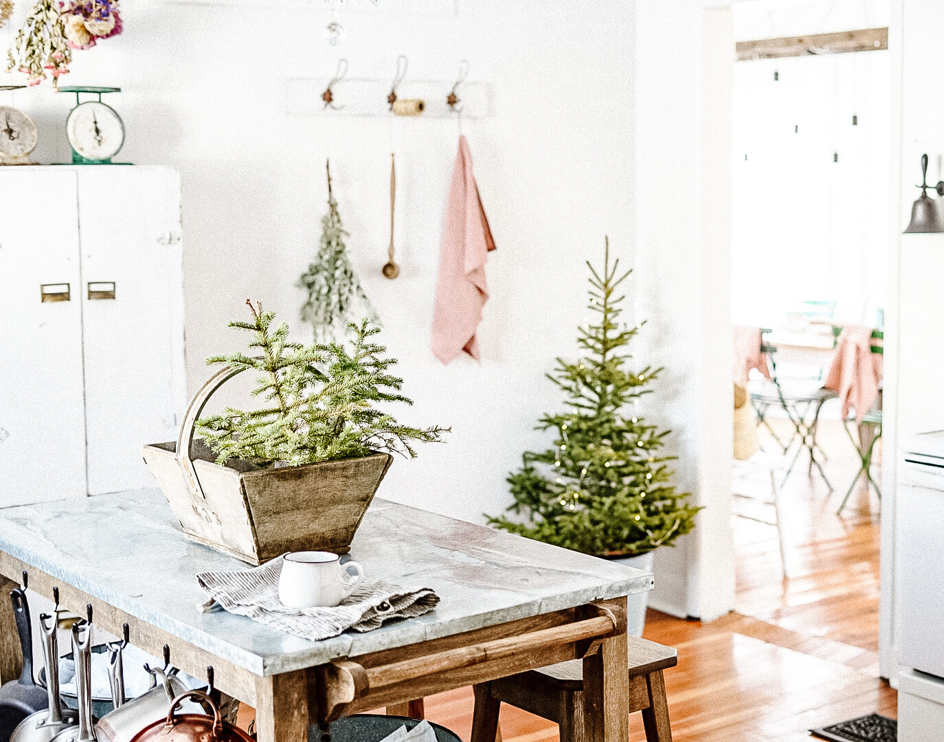 christmas kitchen in a farmhouse