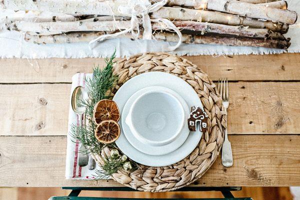 mug hugger and table setting for Christmas