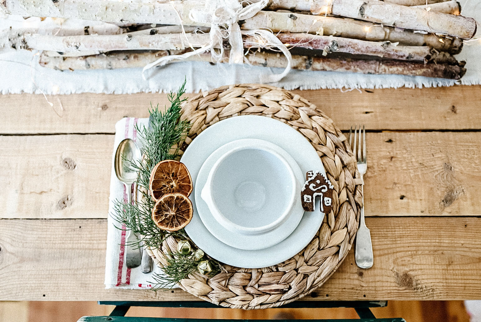 mug hugger and table setting for Christmas