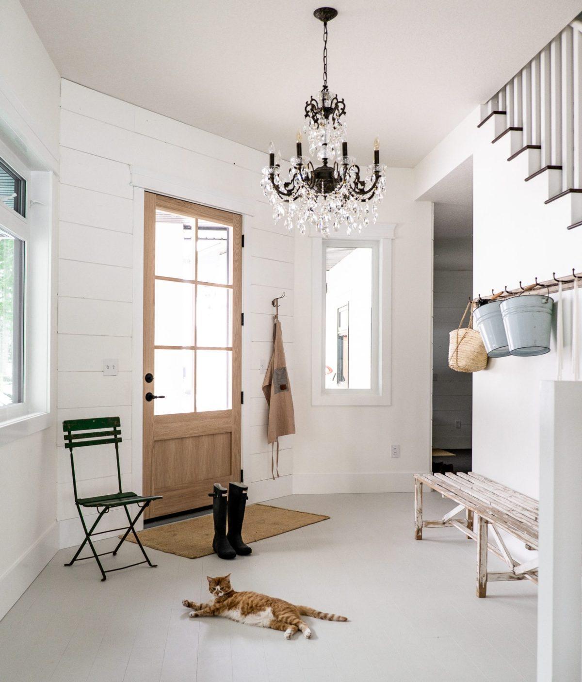 White Oak Door with Cat
