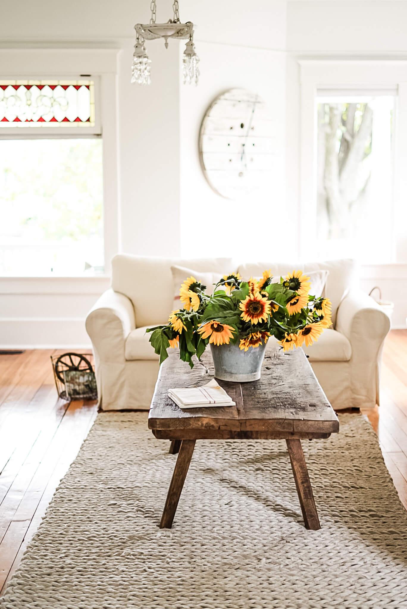 sun flowers on butcher block farmhouse coffee table