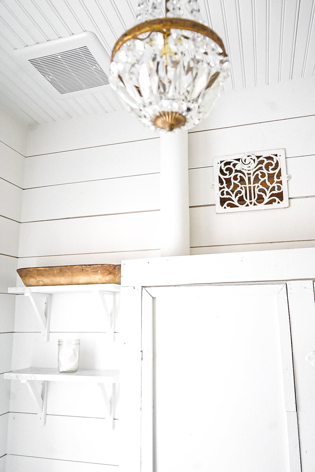 Bathroom chandelier in a Renovation