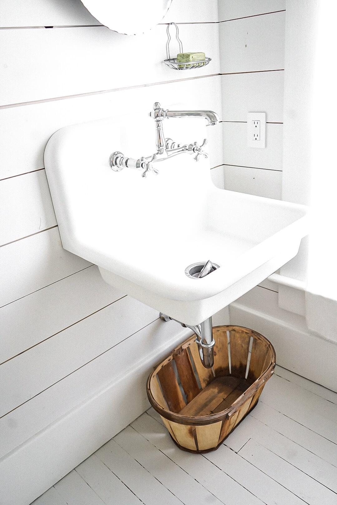 Bathroom wall mounted sink iin a Renovation-06