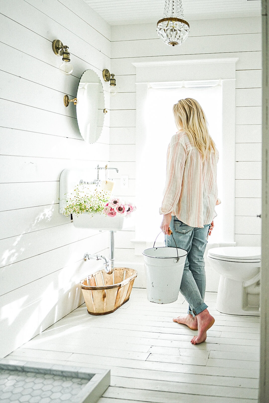 sun shining in a farmhouse bathroom