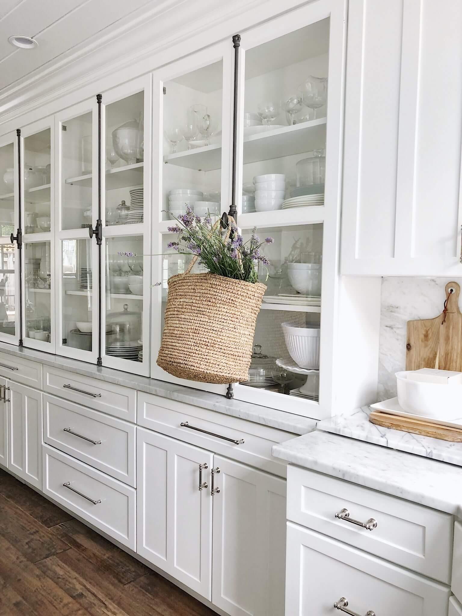 Featherglass Glass Door Kitchen Cabinets hanging market basket