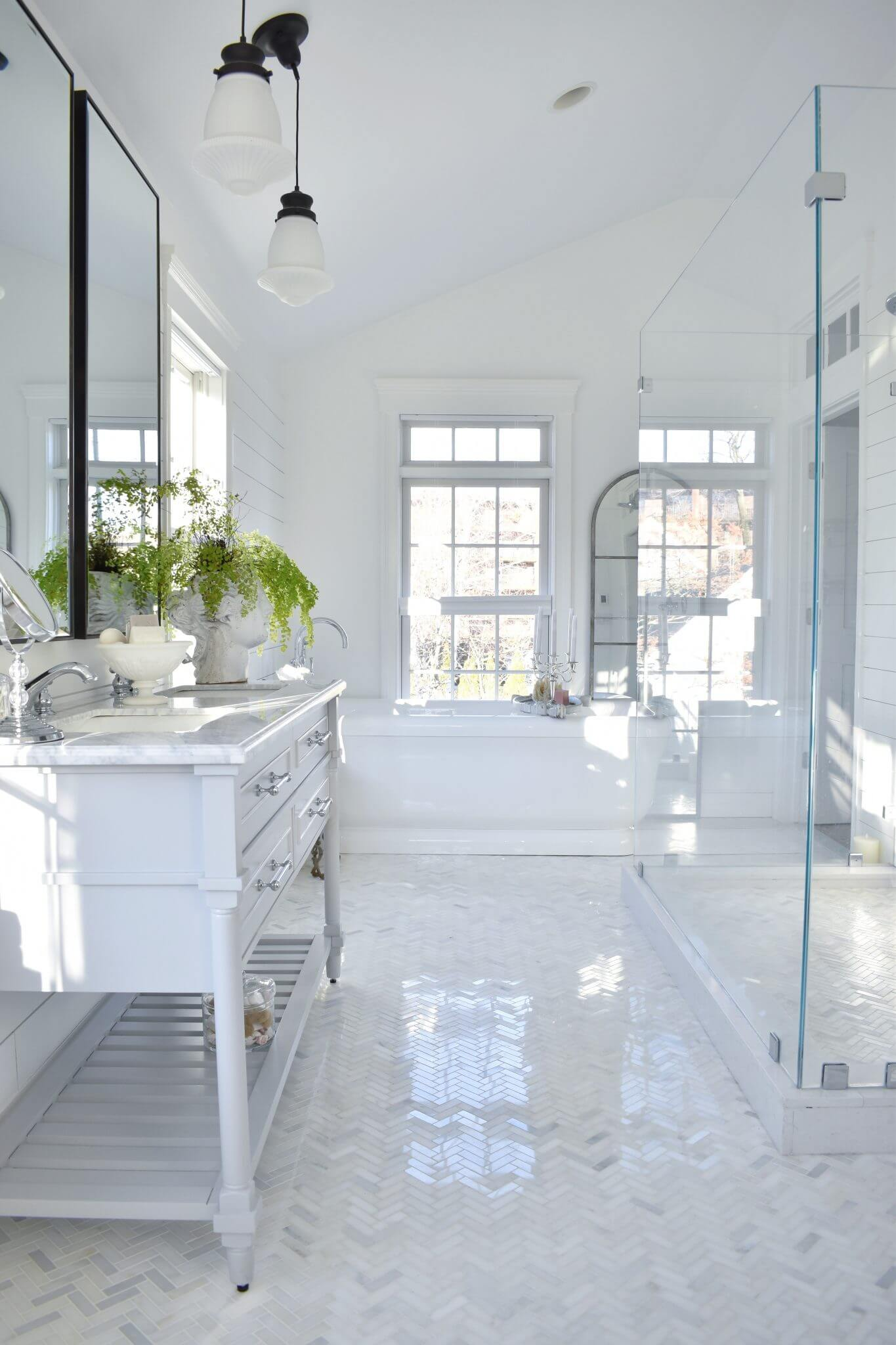 furniture refinishing for the master bathroom with featherglass