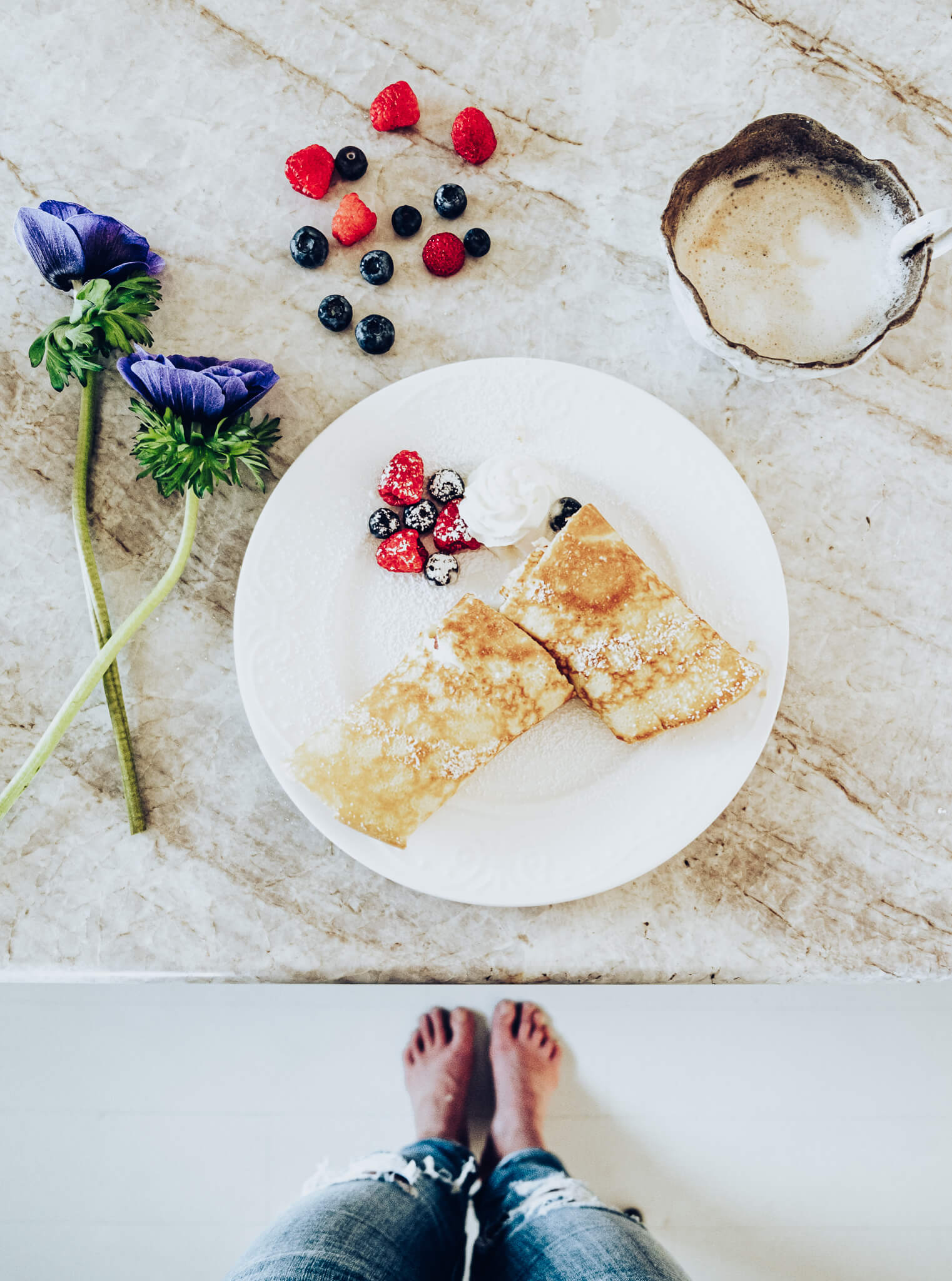 Easy from scratch French crepes perfectly plated for Mother's Day Gifts Breakfast in bed