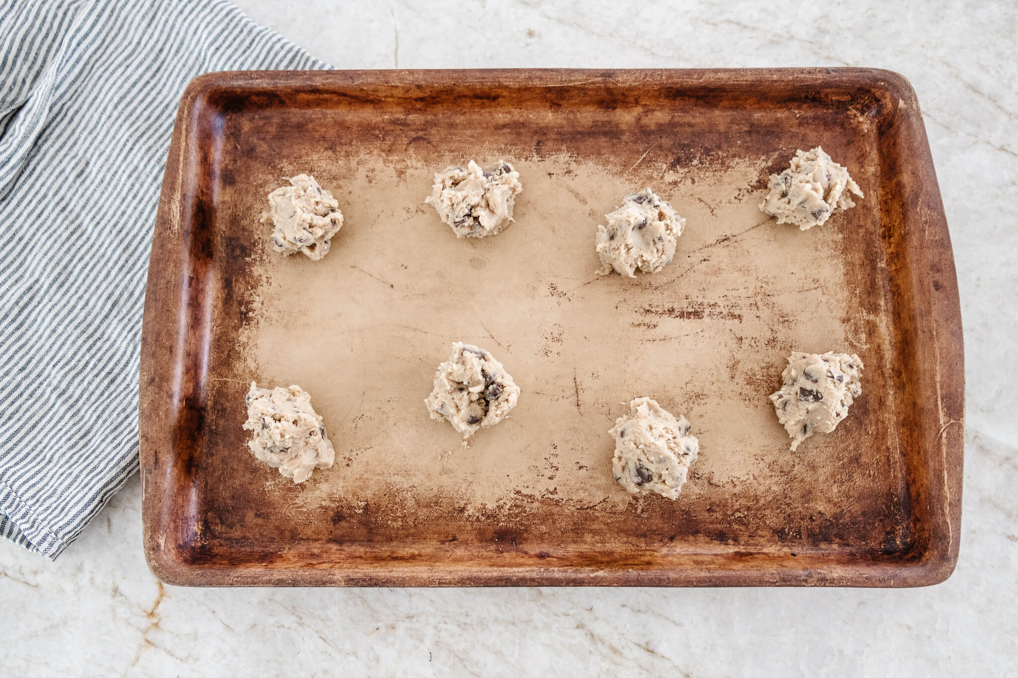 Easy Chocolate Chip Cookie Recipes Cookies Dropped on Cookie Sheet