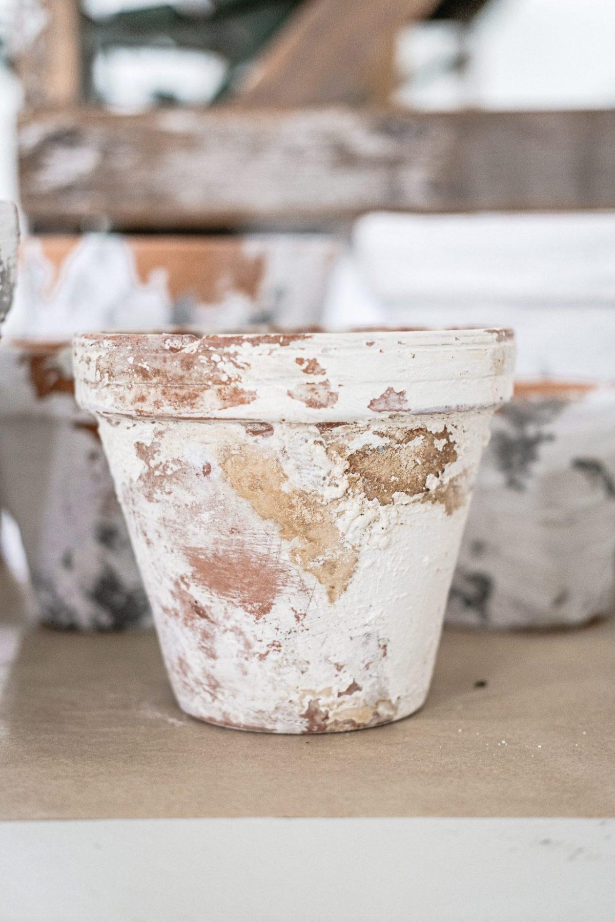 diy aged terra cotta flower pot