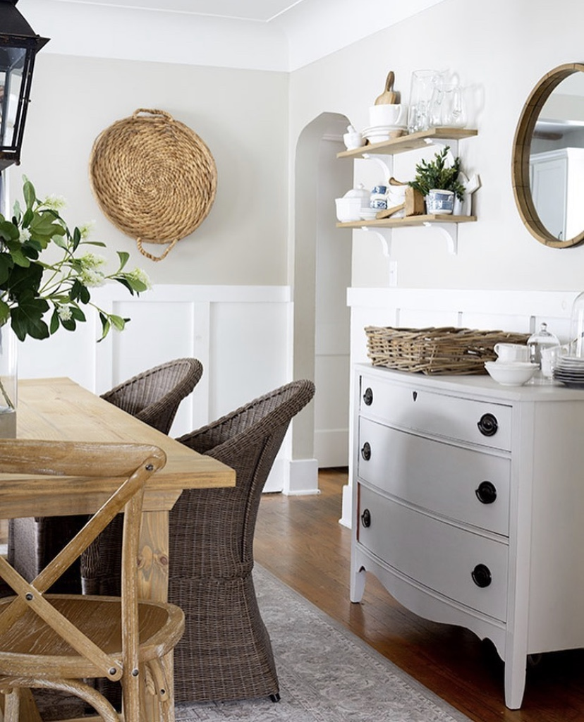 dinning room cottage style decor floating shelves basket wall art white sideboard dresser