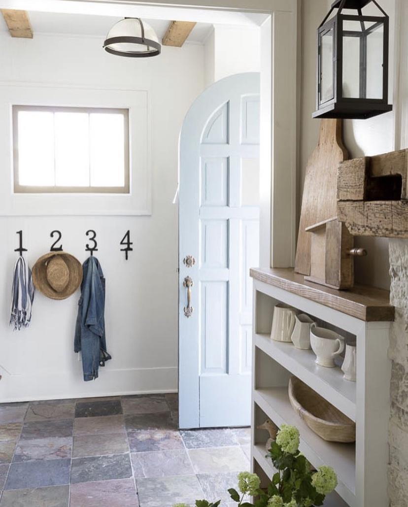 charming light blue cottage style arched front door number hooks