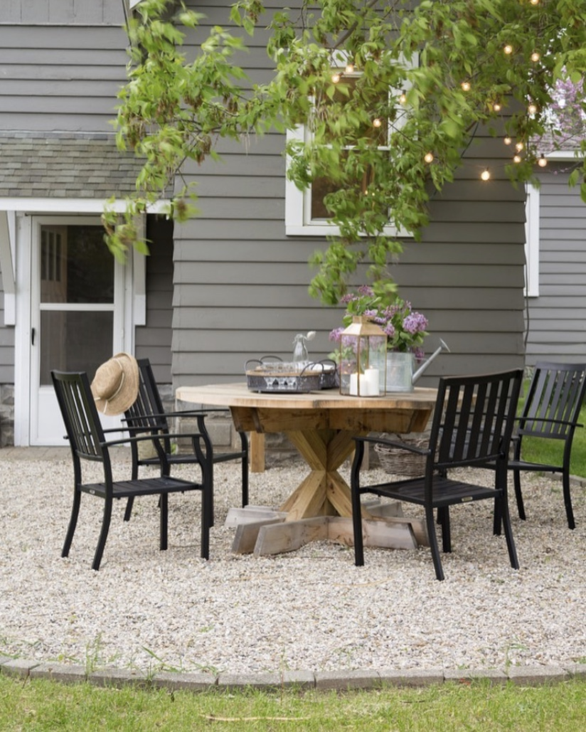 outdoor living space round patio table black accents