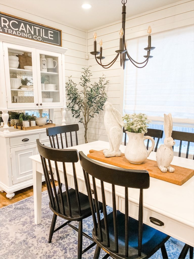 white farmhouse dinning area black winged back chairs by shiplap addict