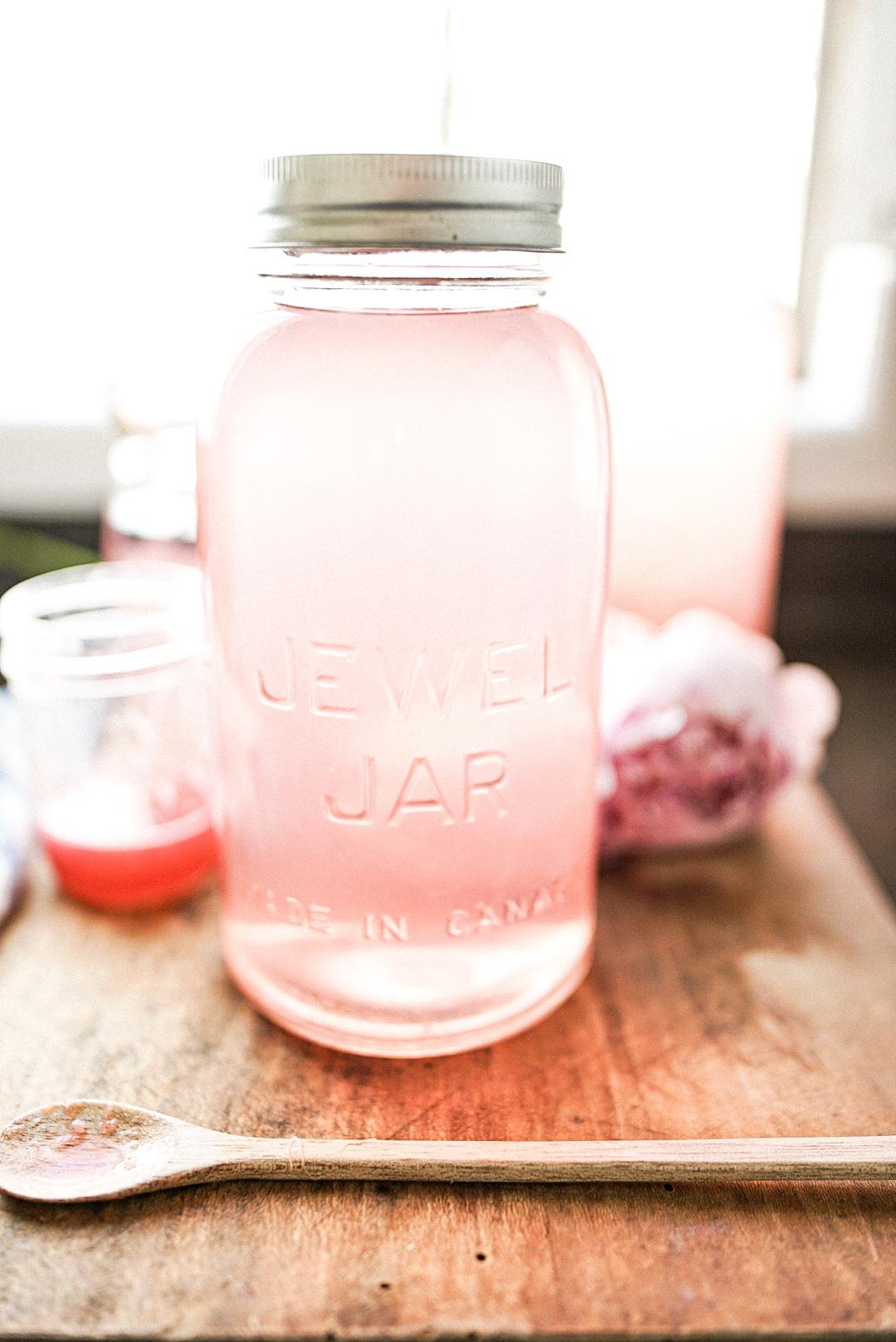 rhubarb juice in large mason jar for storage