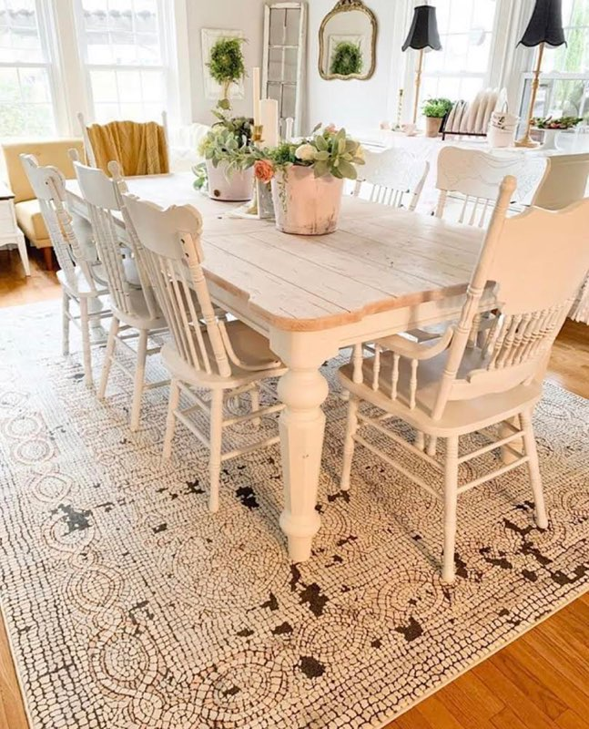 white farmhouse dining table with broad legs