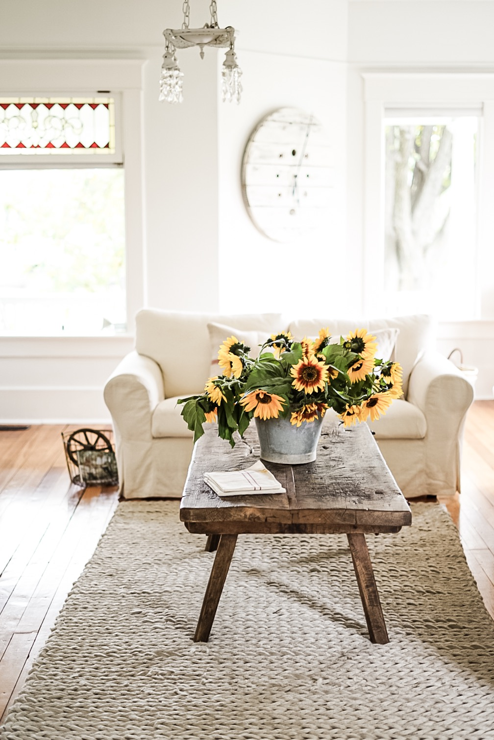 Fall coffee table decor metal bucket full of sunflowers