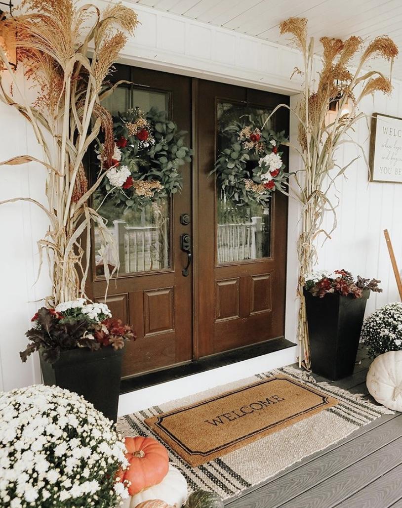 Sugar Maple Farmhouse double front door fall decor