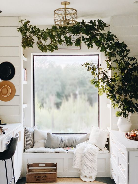 reading nook with ivy plant arch